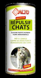 Répulsif chat en boîte de 400 g.Ce répulsif en granulé agit sur l'odorat des chats, il les éloigne radicalement et permet d'éviter leurs nuisances