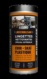 Conçue pour l'entretien des plastiques, cuirs, skaïs à l'intérieur des véhicules, INTER'KLEAN est imprégnée d'un fluide nettoyant et lustrant.