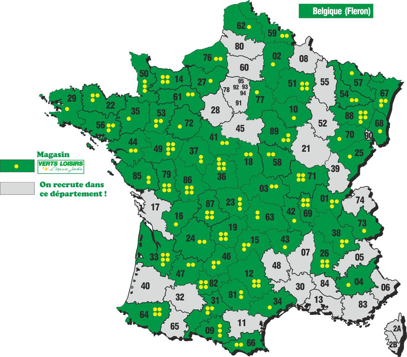La carte de France du réseau Verts Loisirs